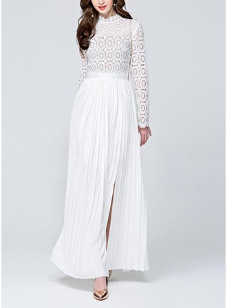 Lace/Cambric With Stitching Maxi Dress
