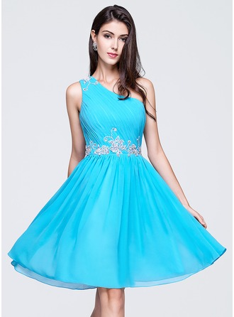 A-Line/Princess One-Shoulder Knee-Length Chiffon Homecoming Dress With Ruffle Beading Appliques Lace Sequins