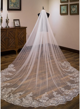3e553e7d9 One-tier Lace Applique Edge Cathedral Bridal Veils With Lace