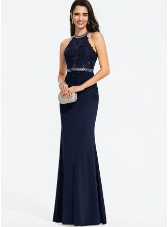 Sheath/Column Scoop Neck Floor-Length Jersey Prom Dresses With Beading Sequins