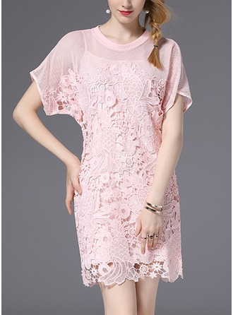 Lace With Lace/Stitching/Hollow Above Knee Dress (Two Pieces )