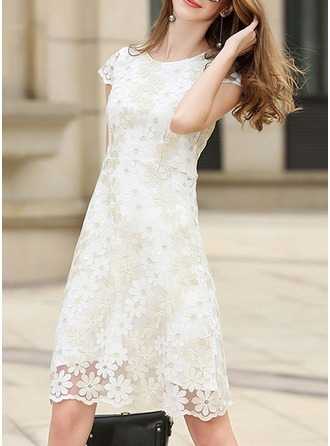 Lace With Stitching/Embroidery Knee Length Dress