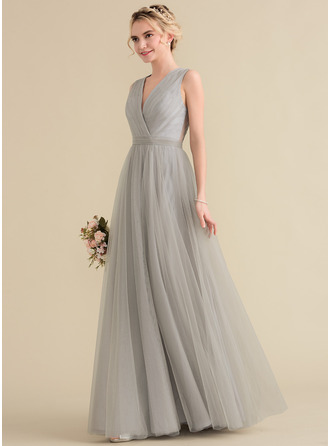 A-Line/Princess V-neck Floor-Length Tulle Lace Bridesmaid Dress With Ruffle