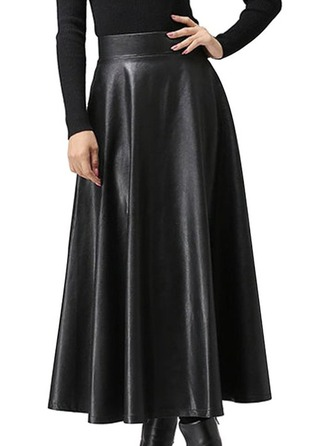 Flared Skirts Mid-Calf Plain Leather/PU Skirts