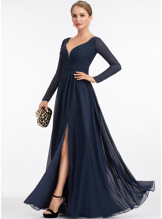 V-neck Floor-Length Chiffon Bridesmaid Dress With Split Front