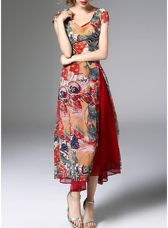 Polyester/Chiffon With Print Midi Dress (Two Pieces )