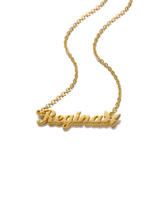 Custom 18k Gold Plated Butterfly Name Necklace Pendant Necklace With Butterfly -