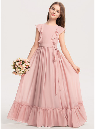 Scoop Neck Floor-Length Chiffon Junior Bridesmaid Dress With Bow(s) Cascading Ruffles