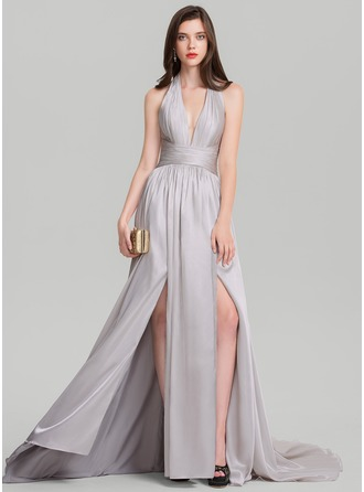 A-Line/Princess Halter Court Train Evening Dress With Ruffle