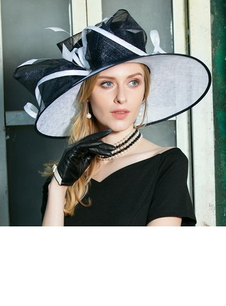 Ladies' Glamourous Cambric With Feather Floppy Hat/Kentucky Derby Hats