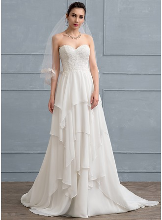 A-Line/Princess Sweetheart Sweep Train Chiffon Lace Wedding Dress With Cascading Ruffles