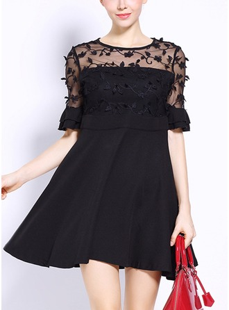 Lace With Lace/Stitching/Resin solid color Above Knee Dress