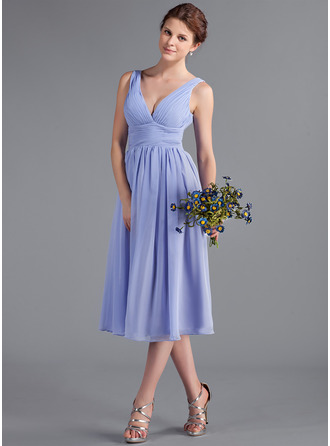 V-neck Tea-Length Chiffon Bridesmaid Dress With Ruffle