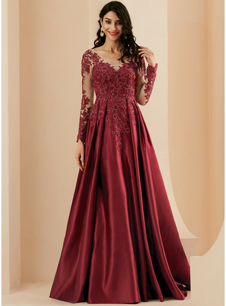 A-Line Scoop Neck Sweep Train Satin Prom Dresses With Lace