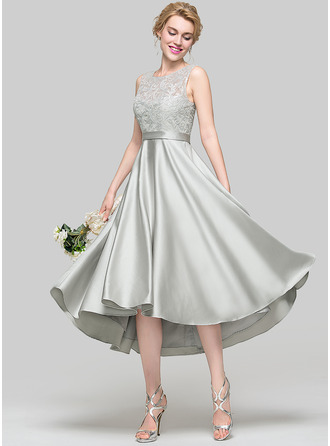 A-Line/Princess Scoop Neck Asymmetrical Satin Bridesmaid Dress With Sequins