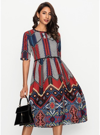Silk With Print Midi Dress