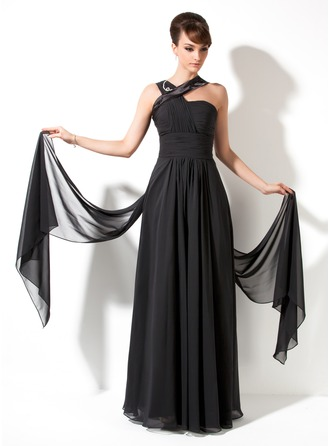 A-Line/Princess V-neck Watteau Train Chiffon Holiday Dress With Ruffle