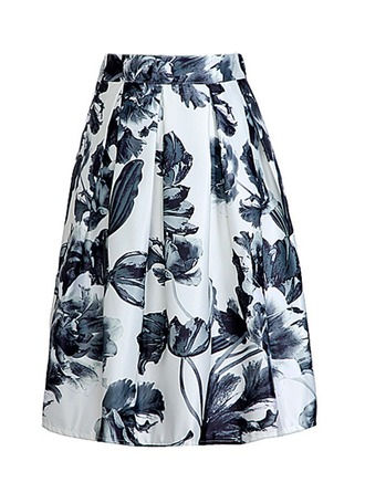 A-Line Skirts Above Knee Floral Polyester Skirts