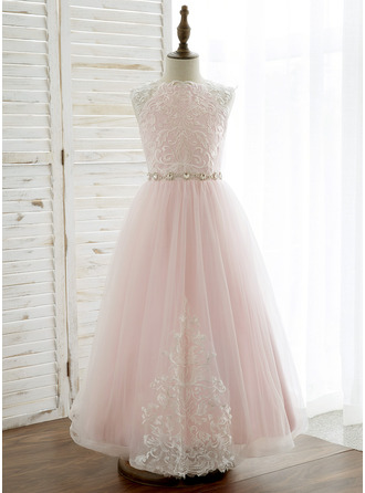 Ankle-length Flower Girl Dress - Tulle Lace Sleeveless Scoop Neck With Rhinestone