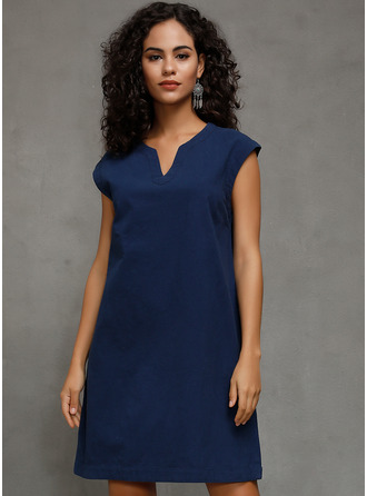 Cotton/Linen With Solid Knee Length Dress