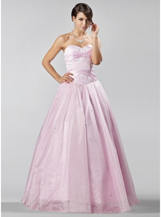 A-formet/Prinsesse Sweetheart Gulvlengde Organza Quinceanerakjole med Perlebesydd