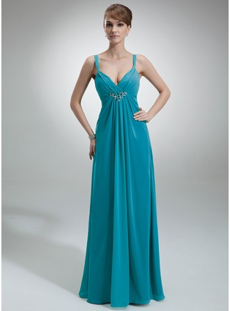Empire V-neck Floor-Length Chiffon Kate Middleton Style With Ruffle Beading