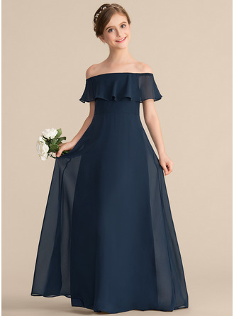 Off-the-Shoulder Floor-Length Chiffon Junior Bridesmaid Dress