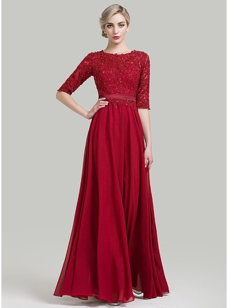 Scoop Neck Floor-Length Chiffon Evening Dress With Beading Sequins