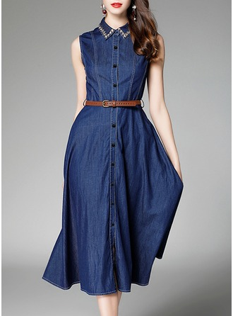 Denim With Stitching Knee Length Dress