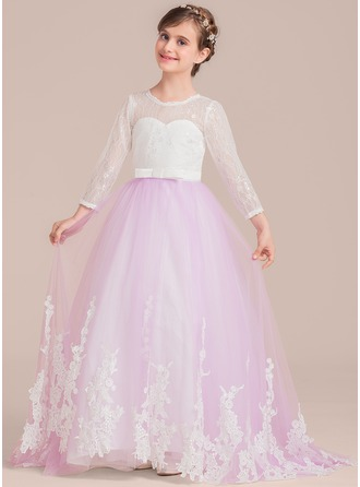 Ball Gown Floor-length Flower Girl Dress - Satin/Tulle/Lace Long Sleeves Scoop Neck With Bow(s)