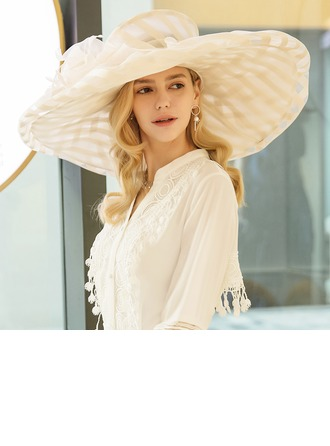 Organza With Feather Floppy Hats/Kentucky Derby Hats