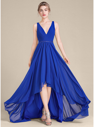 V-neck Asymmetrical Chiffon Bridesmaid Dress With Ruffle Beading Sequins
