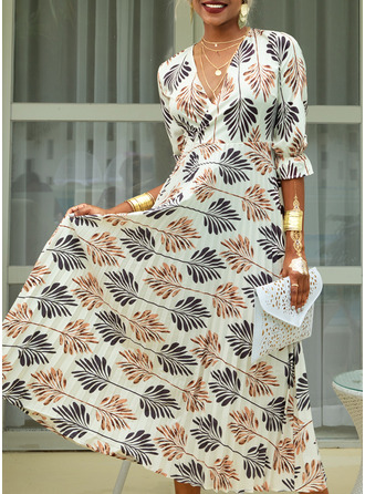 Print A-line V-Neck 1/2 Sleeves Maxi Casual Vacation Skater Dresses