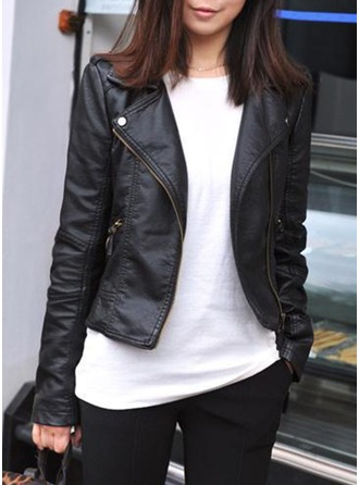 Leather Long Sleeves Plain Jackets ()