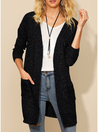 Chunky knit Solid Pocket Acrylic Polyester Cardigans Sweaters