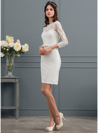 Sheath/Column Knee-Length Stretch Crepe Wedding Dress