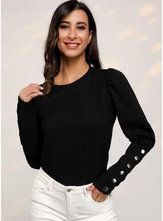 Long Sleeves Cotton Round Neck Ticot Bluzlar