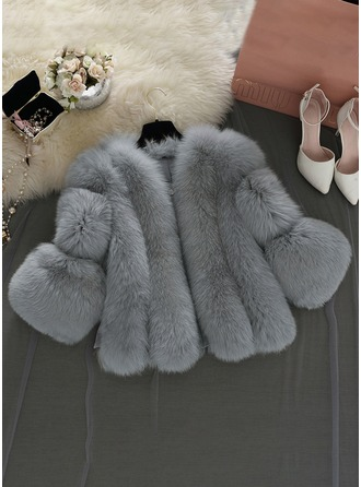 Faux Fur 1/2 Sleeves Plain Wide-Waisted Coats Kabanlar