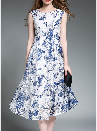 Organza With Embroidery/See-through Look Midi Dress