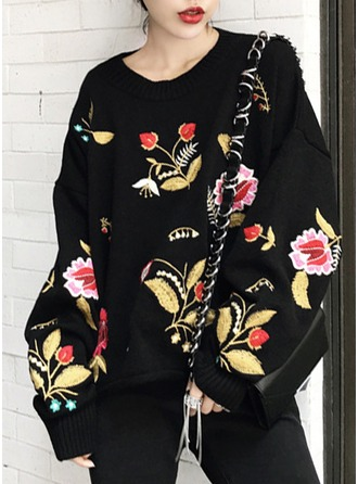 Graphic Polyester Round Neck Sweater Sweaters