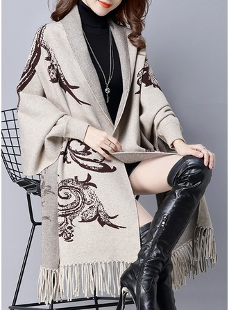 Knitting Long Sleeves Print Blend Coats