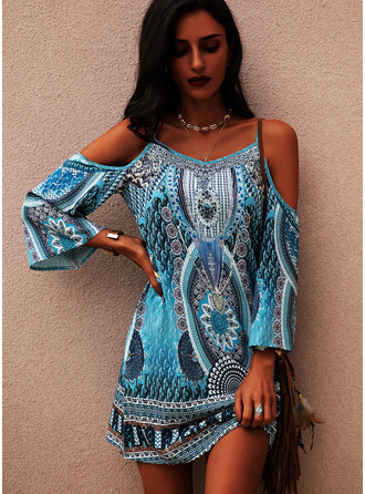 Print Shift Cold Shoulder Long Sleeves Midi Boho Casual Vacation Tunic Dresses