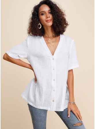 Short Sleeves Cotton Polyester V Neck Blouses