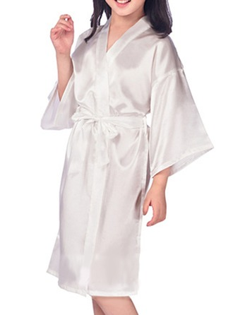 Fillette Satiné avec Longueur genou Robes de satin