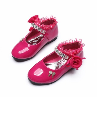 Girl's Leatherette Flat Heel Round Toe Closed Toe Flats With Bowknot Satin Flower Ruched Crystal