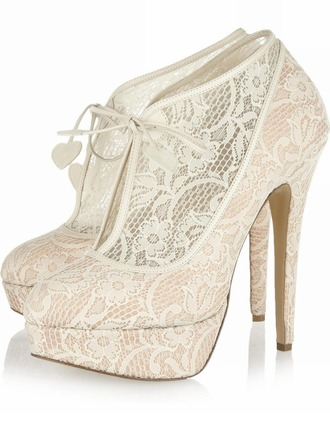 Women's Lace Stiletto Heel Boots Closed Toe Platform Pumps
