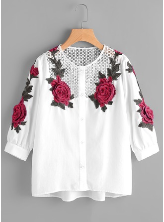 Embroidery 3/4 Sleeves Cotton Round Neck Casual Blouses Blouses