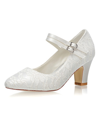 Women's Lace Fabric Chunky Heel Closed Toe Pumps With Buckle
