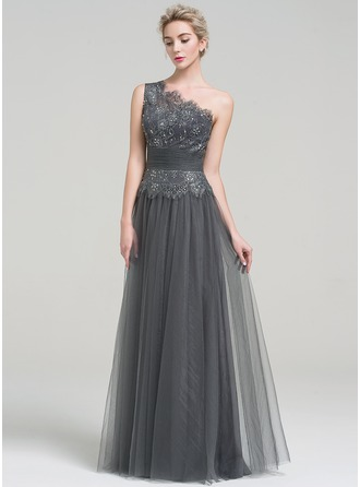 A-Line One-Shoulder Floor-Length Tulle Evening Dress With Ruffle Beading Sequins