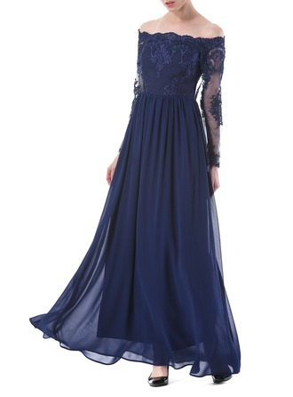 Lace/Chiffon With Embroidery Maxi Dress